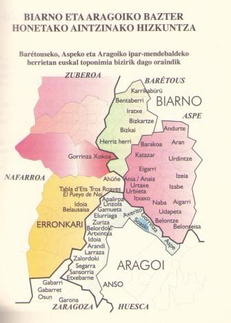 """""""Erronkari eta Ansoko toponimiaz"""" (Mapa: Juan Karlos López-Mugartza Iriarte. Euskaltzaindia, 2008)"""