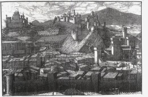 Reconstrucción idealizada de Estella-Lizarra en 1512 (Iturria: www.cpabarzuza.educacion.navarra.es)