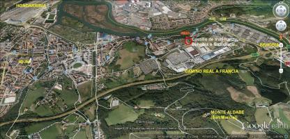 Escenario de la batalla de San Marcial en la actualidad (Iturria: Google Earth)
