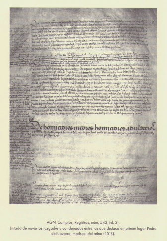 """Listado de navarros juzgados y condenados en 1513. Fuente: """"Catálogo de los Libros de Mercedes Reales del Reino de Navarra (1336-1859)"""". Alfonso Etayo Pérez."""