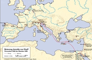 Arnold von Harffen bidai osoaren mapa (Iturria: http://www.museum-villa-erckens.de/wechselausstellungen/arnoldvonharff.php)