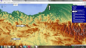 "Ibilbidea ""Pascaien""-en lurretan (Iturria: http://pilgrim.peterrobins.co.uk/itineraries/map/Harff.html)"