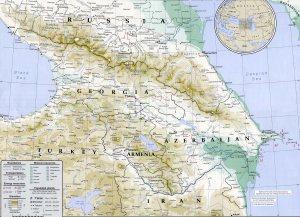 Mapa geográfico y político del Cáucaso  (Fuente: www.asia-turismo.com).
