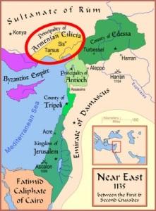 El reino cruzado armenio de Cilicia (1080-1375) (Iturria: Wikipedia)
