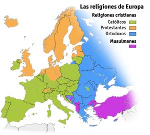 Mapa de las religiones en Europa (Iturria: Wikipedia)