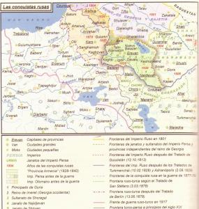 """Mapa de la expansión rusa en Armenia (""""Historia del Pueblo Armenio"""", de Ashot Artzruní)"""