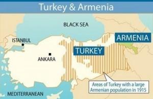 Zonas con notable población armenia en el Imperio Otomano en 1915 (Iturria: WIkipedia)