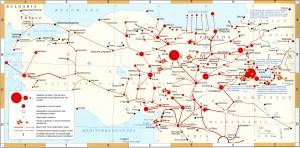 Mapa que representa los flujos de población armenia deportada al desierto de Siria (Iturria: Wikipedia)