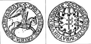 Sello de la Junta de Infanzones de Obanos (s. XIII) (Iturria: http://ujue-uxue.blogspot.com.es)