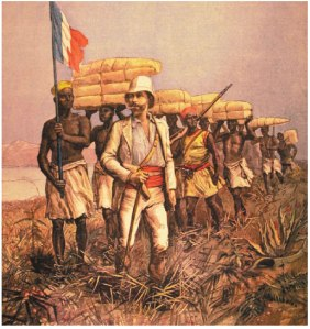 Grabado romántico sobre la colonización europea de África (iturria: https://baluarteutopico.blogspot.com)