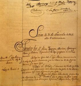 Firmas del Acta de la Ley Paccionada de 1841 (Iturria: enciclopedianavarra.com)