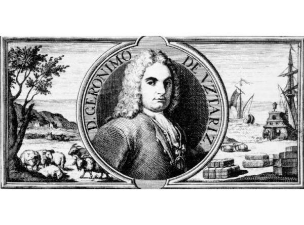 """Gerónimo de Ustariz Hermiaga (Doneztebe, 1670-Madrid 1732), abuelo del Gerónimo de Ustáriz que acogió a Simón Bolivar. Hijo secundón de una familia numerosa, emigró en su juventud para hacer carrera en la Corte española. Tras varios años en el Ejército, inició una carrera política que le llevó a ser el principal responsable de la política económica de Felipe V, el primer Borbón español. Está considerado como uno de los principales economistas mercantilistas de su época, siendo mencionado por Voltaire o Adam Smith, entre otros. Su obra más destacada es """"Teoría y práctica de Comercio y Marina"""" (1724), donde anticipa los temas que marcarán las obras de los primeros economistas clásicos, centrados en el análisis y medición de la riqueza de las naciones. Su hijo Casimiro recibió el título de Marqués de Uztariz. (Fuente imagen: www.euskomedia.org)"""