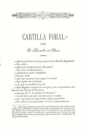 """""""Cartilla Foral"""" elaborada en 1894 por el escritor y político navarro Hermilio de Olóriz (1854-1919), para la formación de la juventud tras la """"Gamazada""""."""