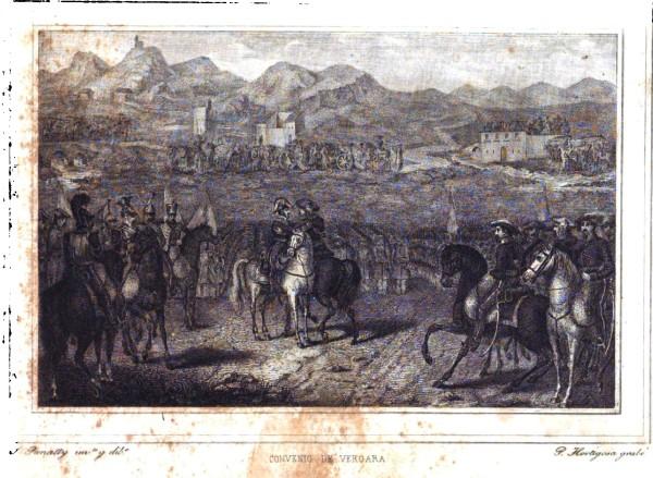 """El """"Abrazo de Vergara"""" 31 de agosto de 1839 (Fuente: """"Historia de la vida militar y política de Martín Zurbano"""" de Eduardo Chao, 1846)"""